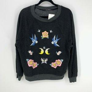 Wildfox Bird & Rose Print Crescent Moon Sweatshirt